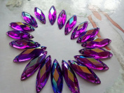100pcs 26X8mm purple navette shape flatback Crystals sew on Rhinestones Accessories For Hand Sewing gem stone
