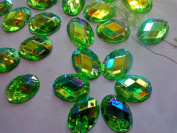 Sew on 100pcs 13X18mm Flatback Oval Shape Rhinestones Green Crystals Gem Stones Accessories Strass Diamond