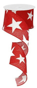 Star Wired Edge Ribbon (6.4cm , Red White) - 10 Yards : RG01269W7