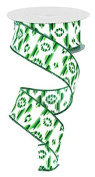 Emerald Green Lime White Ikat Wired Ribbon White Multi 3.8cm X 10 Yards : RG145909