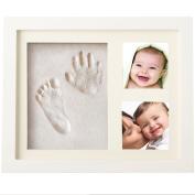 Baby Handprint Footprint Frame Kit,Newlemo Baby Hand Foot Print Clay Photo Frame White Wooden for Keepsake