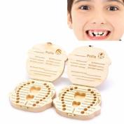 Lalang Baby Wooden Teeth Save Box Milk Teeth Wood Case Storage Kids Keepsake Organiser