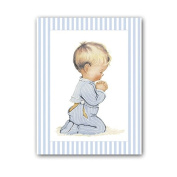 Picture Printed on Canvas of Child Praying with Pyjamas and Greek Key Stripe Blue