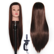 100% Synthetic Hair Hairdressing Cosmetology Mannequin Manikin Training Head With Clamp Stand ESJ0418P