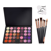 VONISA Eyeshadow Palette 35 Waterproof Makeup Nature Glow Matte Eye Shadows Kits Professional Make Up Shimmer Eye Shadow Pallets with Eyes Makeup Brushes Set and Cat Eyeliner Stencil Beauty Cosmetics