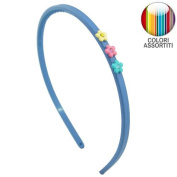 126 - 702 Rubber Hair Band Girl cm 0.5 with Rhinestone - Cerchietti for Hair Flowers Girls Headbands Girl sky blue