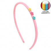 126 - 702 Rubber Hair Band Girl cm 0.5 with Rhinestone - Cerchietti for Hair Flowers Girls Headbands Girl pink light
