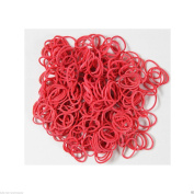 300 Poly Rubber Braiding Plaits Hair Elastic Bands Small Clear and Colourful (Red) by VL