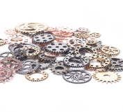 BIHRTC 100 Gramme Mixed Colour Antique Metal Steampunk Gears Charms Pendant Clock Watch Wheel Gear for Crafting, Jewellery Making Accessory