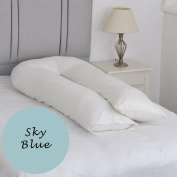 Large U Shaped Support Pillow - Multi-Purpose Body Support Disability Aid with Sky Blue Pillowcase
