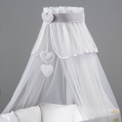 3 element set : Lovely Canopy/Mosquito Net for Baby Cot Bed Crib + hanging Decorations + Holder / Designed by Dreamzzz handmade