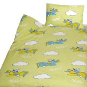 Flannelette Children's Bed Linen 100% Cotton 100 x 135 + 40 x 60 cm in 4 cute Designs Flugzeuge