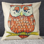 Luxbon Red Feather Owl Linen Cushion Cover Pillow Bezuege Fall Waist Throw Pillo Baby Cover Case Home Room Car Decorative 45 x 45 cm
