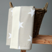 Kraft Kids Baby Blanket Large White Stars on Beige