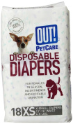OUT! Disposable Dog Nappies, X-Small, Pack of 18