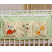 TDKIDO Nursery 100% Cotton Crib Organiser Nappy Stacker Hanging Storage 3 Pockets for Baby Room Decor