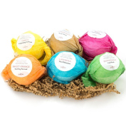 Bath Bombs Gift Set by Anjou, 6 x 100ml Colourless Bath Bombs Kit, Best for Aromatherapy, Relaxation, Moisturising with Organic & All Natural lush Essential Oils, Jojoba Oil, Shea Butter