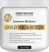 100% Natural Gold Mica Face and Body Scrub 300ml with Nourishing Oils - Best for Acne, Eczema, Skin Discoloration and Detox, Deep Skin Exfoliator and Body wash