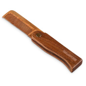Hawatour Green Sandalwood Folding Comb Pocket Size Hair and Beard Fold Wood Comb for Men and Women Use