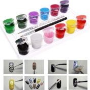 3D 12 Colours Acrylic Nail Art Paint Set With Nail Art Brush Pen DDStore