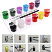 3D 12 Colours Acrylic Nail Art Paint Set With Nail Art Brush Pen DDStore