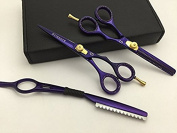 14cm Professional Barber Razor Edge Titanium Coated Hair Cutting and Texturizing Shears Scissors Set+case