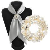 Gemini_Mall Elegant Faux Pearl Rhinestone Scarf Ring Silk Scarf Buckle Clip Gift