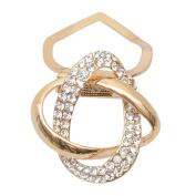 Gemini_Mall Fashion Gold Tone Rhinestone Scarf Ring Silk Scarf Buckle Clip Gift