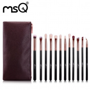 MSQ Professonal 12pcs Rose Gold Makeup Brush Set Synthetic Hair With PU Leather Case
