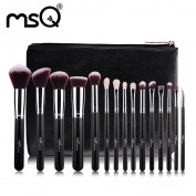 MSQ 15pcs Makeup Brushes Set, Soft Synthetic Foundation Eyeshadow Blusher Beauty Cosmetic Tools With Travel Pouch