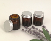 Pack of 3 x 30ml Amber Glass Jars with Aluminium Lids and Professional White PP Plastic Spatulas. Suitable for Aromatherapy, Creams, Gels, Serums, Wax, Ointments, First Aid etc