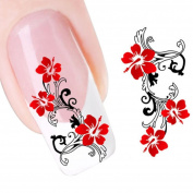 Nail Art Longra Interesting Red Flowers Design Nail Tip Art Water Transfers Decal Sticker * (Size:5.2CMX6.3CM) DIY Use ! !