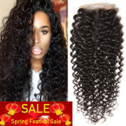 Unice Hair 10cm x 10cm Free Part Lace Closure Brazilian Curly Virgin Human Hair Lace Closure Natural Black