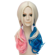 Netgo Pink and Blue Mixed Pigtail Wig Meduim Length Lolita Wig for Cosplay Costume Hallowenn Party