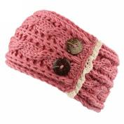Hunputa Womens Crochet Winter Warm Buttons Knitted Braided Knit Wool Ear Warmer Hat Cap Headband Hair Band