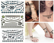 Value Plus 3-sheet Sexy Jewelries Feather & Stars Fashion Temporary Tattoos