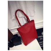 RED - Women Lady Leather Weave Handbag Shoulder Bag Satchel Shopper Tote Shopping Bag