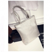SILVER - Women Lady Leather Weave Handbag Shoulder Bag Satchel Shopper Tote Shopping Bag