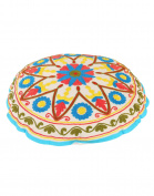 Decorative Round White Ottoman Cotton Floral Embroidered Pouffe Cover Home Decor By Rajrang