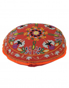 Traditional Round Rust Ottoman Cotton Floral Embroidered Pouffe Cover For Decor By Rajrang