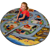 Fun field City 130cm Round Map Play Rug - Roads, a Train Station, Fire Station, Playground, Store and So Much More