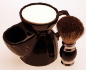 Diamond Edge Badger/bristle shaving brush & black shaving mug