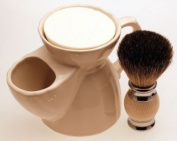 Diamond Edge Badger/bristle shaving brush & white shaving mug