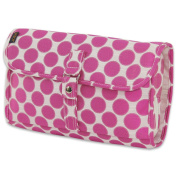 JODA Ladies Pretty Pink Dots Hanging Travel Cosmetic Toiletry Wash Bag with Hook for Women