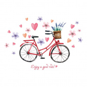 Winhappyhome Romantic Bike Wall Stickers for Bedroom Living Room Coffee Shop Background Removable Decor Decals