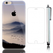 Sunroyal 3D Creative Case for Apple iPhone 5/5S, Transparent 3in1 Soft Silicone Gel TPU and Accessories Protective Case Polyurethane Anti-shock Ultra Slim Cover Flexible Skin Protector Shell Ultra thin Scratch-resistant Case + Protective Film + Metal S ..