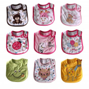 Free fisher 9pcs Set Baby Boys Cotton Bibs Waterproof with different Cartoon Patterns