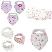 Bebedou Lovely Cotton Pink Unicorn horse Hearts Embroidered Bandana Bibs 6 Pack newborn gift pack super absorbent drool bibs , baby shower gift , girls