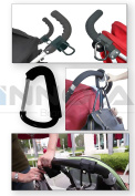 Innova® Baby Stroller Buggy Puschair Bar Hook Strap Pram Hooks With Carabiner Clip