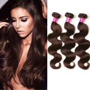 3 Pcs 50cm Aphro Hair Factory Brazilian Body Wave Human Hair Extensions Brazilian Hair Weave Bundles 4# Light Brown
